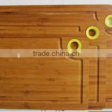 Display Groove Serving Water Juice Bamboo Wooden Cutting Board Set with Round Color Silicone Circle