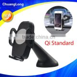 Universal one hand release 360 degree rotation windshield wireless qi car charger for 3.5-6inch smartphone