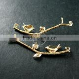 10x35mm 14K light gold plated bird on flower tree branch DIY pendant charm supplies 1850186