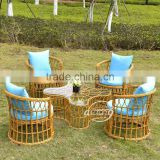 Goldenrob PE bamboo patio outdoor furniture aluminium PE wicker/rattan coffee gardentable and chairs set