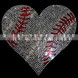 "Rhinestone Transfer "" Crystal Baseball Heart "" Hotfix , Iron On, Bling"