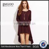 Burgundy Dip Hem Tee Dress With Long Sleeve Polyester Spandex Casual Plain Boat Neck High Low Hem Short Dress