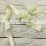 Beige Ribbon Sash & Headband Sets With Rose Lace Feather Crown Bridal Accessory For Wedding