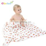 Elinfant baby blanket factory custom printing breathable safty bamboo cotton swaddle blanket