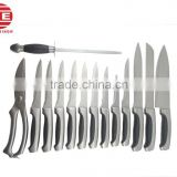 (DCK-044) 15 Pieces Stainless Steel Kitchen Knife Set with Chicken Scissors and Sharpener