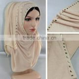 Wholesale Beads Muslim Arab Hijab Cotton Jersey Infinity Scarf With Jewelry                                                                         Quality Choice