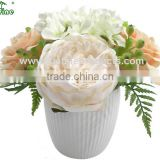 High Quality Artificial Flower, Artificial Flower Potted, Silk Flower Arrangement in Ceramic Pot