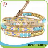 Magnetic Bead And Light Grey Stone On Petal Leather Summer Beach Bracelet Men