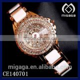 big and many rhinestone setting ladies ceramics quartz watches*ceramics quartz watches for ladies with multi rhinestones