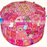 Vintage Patchwork Ottoman Pouf Indian Living Room Pouf Foot Stool Round Ottoman Cover