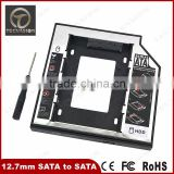 "Aluminum and Plastic 2.5"" Second 2nd SATA to SATA HDD Hard Disk SSD Adapter Caddy 12.7mm"