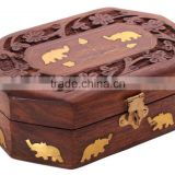 Store Indya Handcrafted Wooden Jewelry Box Keepsake Storage Organizer, Elephant Brass Inlay
