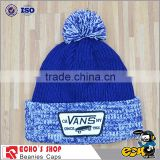 Navy stitching knitted custom acrylic beanie with logo embroidery                                                                         Quality Choice