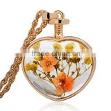 Fashion Jewelry Dried Flower Locket Romantic Crystal Glass Heart Shape Floating Locket Pendant for Women Girls