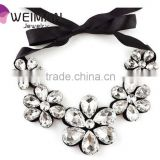 New Fashion exquisite Flower Ribbon Gem Petals charming Bib collar Necklace jewelry bib beads necklace