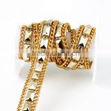 Hot fix flat back plastic rhinestone strip metal chain trimming for bag decoration