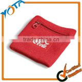 Wholesale Zipper Cotton Fabric Wrist Sweatband with Custom Logo Sport Wristband                                                                         Quality Choice