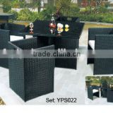 outdoor garden unique design space saving leisure rattan wicker chairs table dining set YPS022