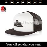 Promotional Black And White Plain Blank Printied 3D Embroidery Flat Billl Foam Cheap Custom Mesh Trucker Cap Wholesale
