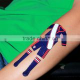 Beauty Sticker 2016 UEFA Safe Body Face Tattoo Water Transfer Flag Hands Temporary Tattoo