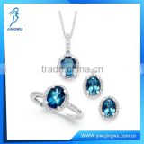 Blue Topaz and White Topaz Jewelry Set 925 Sterling Silver
