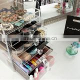 clear transparent large capacity cube perspex cosmetic display acrylic makeup palette organizer boxes