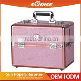 2016 Sunrise pink aluminum hand carrying makeup train case with 6 rolling tray and tool holder                                                                         Quality Choice