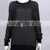 Export products ladies' round neck long sleeve pullover cotton thick pattern jacquard machine knitted sweater