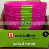 Picnic salad bowl PP 10 inch round (Pink-RHODAMINE RED c) in display box packing #TG1005EG