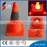 Foldable pink solar traffic cone light