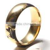 Wholesale Earth shape dome gold plated brushed and polished tungsten rings