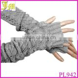 Fashion Women Ladies Black Gray Crochet Knit Stretch Long Fingerless Arm Warmers Gloves Cheap