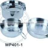 Convenient deep camping pot and fry pan and bowl for 2 people