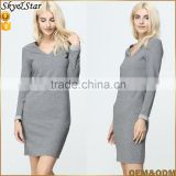 Knitted lady slim fit V neck dress long sleeve bodycon women cotton dress with zipper back