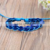 Handmade Adjustable Wristbands Braided Blue Leather Bracelet PU