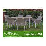 White Extendable Dining Table Set Rattan Outdoor Patio Furniture Anti - Aging Feature