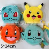 Japanese Pokemon Designs Single Shoulder Anime Plush Coin Purse Bag 4pcs/set