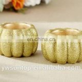New Design Attractive Gold Glitter Pumpkin Resin Votive Candle Holder For Wedding Baby Shower Party Decoration