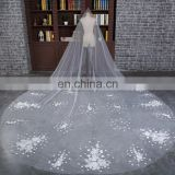 HSP1704 High quality Lace Appliqued Veil Wedding Bridal Long Cathedral