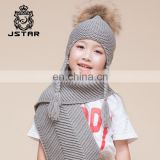Fashion Design Beanie Kids Scarf With Real Raccoon Fur Pom-pom Knit Hat And Scarf For Kids
