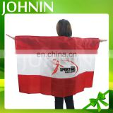 Wholesale Custom Design Polyester 3*5 FT Silk Screen Printing Football Fan Body Flags Cape
