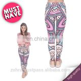 Mandala turquoise and pink stretch fashion casual printed photo gym tights brand pants elastic tight pants leggings for woman