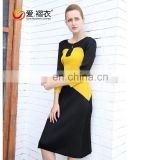 Mature women graceful color split joint lady fashion dress in yellow and black