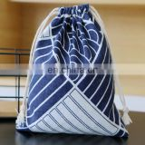 Cotton & Linen high quality canvas drawstring packing bag