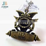 Cheap custom own logo high quality 3d antique color metal keychain
