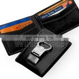 Antique Bifold Leather Credit Card/ID Card Holder with Bottle Opener Shape Metal Money Clip
