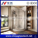 CCC/CE/ISO Certificated Customized Size Flat/Curved Clear Tempered Glass Shower Stall