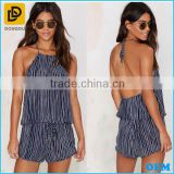 High-end Stylish Women's Summer Stripe Print Halter Romper /High Quality Ladies Backless Summer Jumpsuit