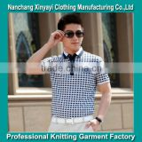 Men's grid polo shirt With Printed Fabric Using polo Shirt Printing Machine OEM China
