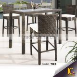 Popular style waterproof PE rattan outdoor bar furniture wickes furniture bar stool set
